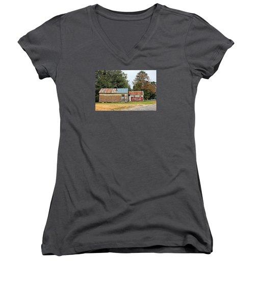Old Buildings At Burnt Corn Women's V-Neck T-Shirt (Junior Cut) by Lynn Jordan