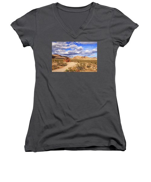 Women's V-Neck T-Shirt (Junior Cut) featuring the photograph Old Cabin At Rhyolite by James Eddy