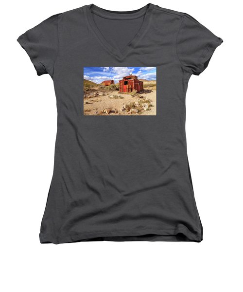 Women's V-Neck T-Shirt (Junior Cut) featuring the photograph Old Caboose At Rhyolite by James Eddy