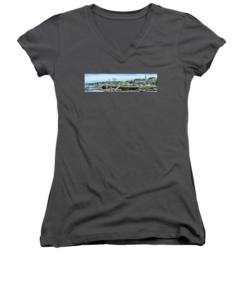 Old Camden Harbor View Women's V-Neck T-Shirt (Junior Cut) by Daniel Hebard
