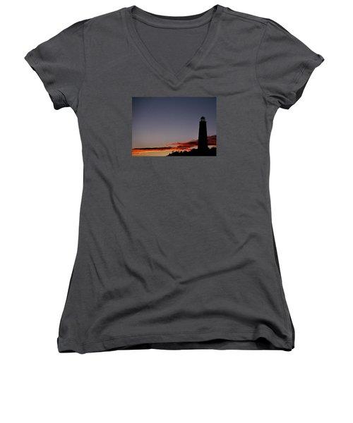Old Cape Henry Sunrise Women's V-Neck T-Shirt (Junior Cut) by Skip Willits