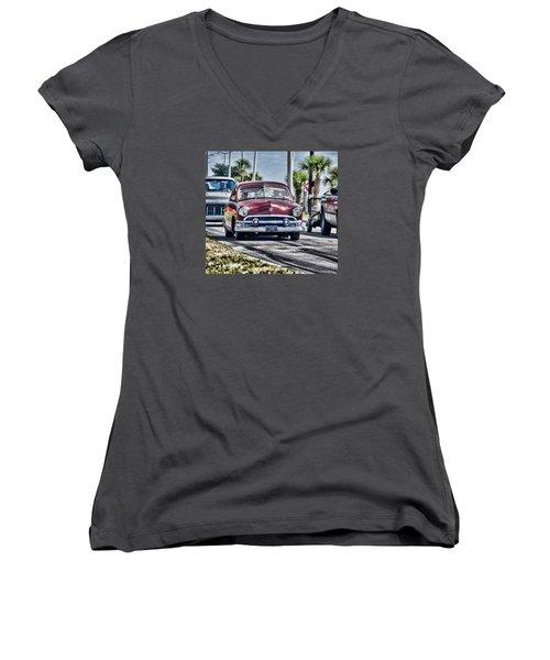 Old Car 1 Women's V-Neck T-Shirt (Junior Cut) by Cathy Jourdan