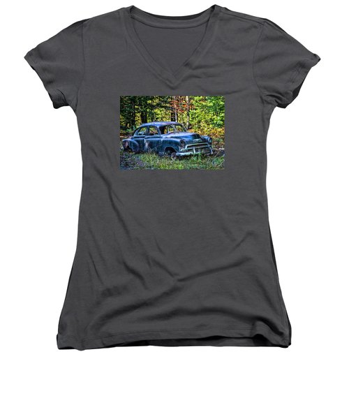Old Car Women's V-Neck T-Shirt (Junior Cut) by Alana Ranney