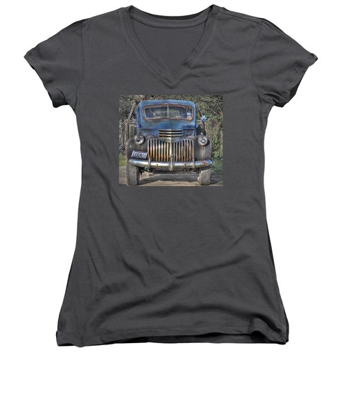 Women's V-Neck T-Shirt (Junior Cut) featuring the photograph Old Chevy Truck by Savannah Gibbs