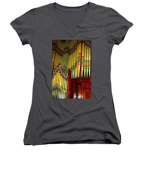 Old Church Organ Women's V-Neck