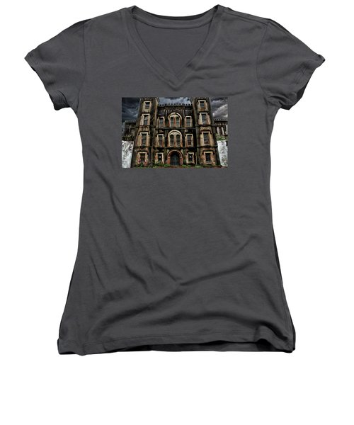 Old City Jail Women's V-Neck (Athletic Fit)
