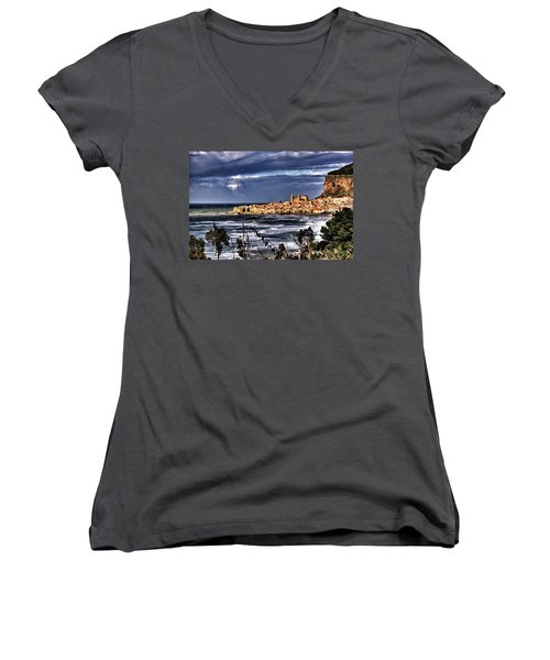Old Coastal City  Women's V-Neck (Athletic Fit)
