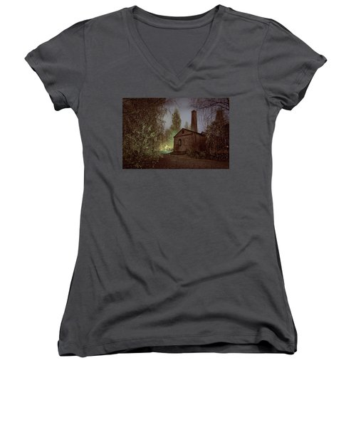 Old Factory Ruins Women's V-Neck T-Shirt
