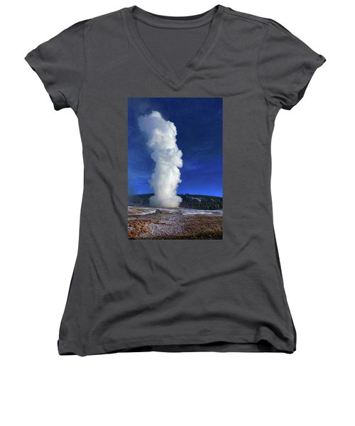Old Faithful In Winter Women's V-Neck T-Shirt (Junior Cut) by C Sitton