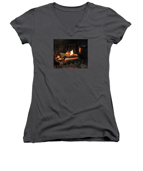 Old Fashioned Fireplace Women's V-Neck (Athletic Fit)
