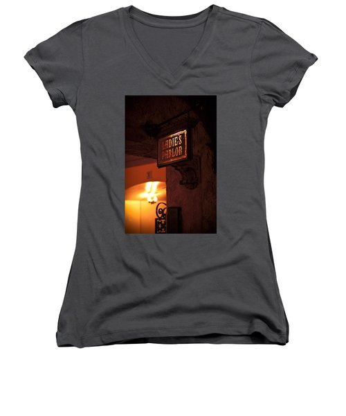 Old Fashioned Ladies Parlor Sign Women's V-Neck T-Shirt (Junior Cut) by Carolyn Marshall