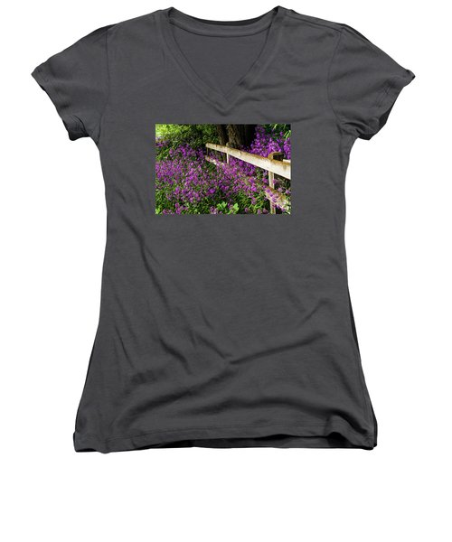 Old Fence And Purple Flowers Women's V-Neck (Athletic Fit)