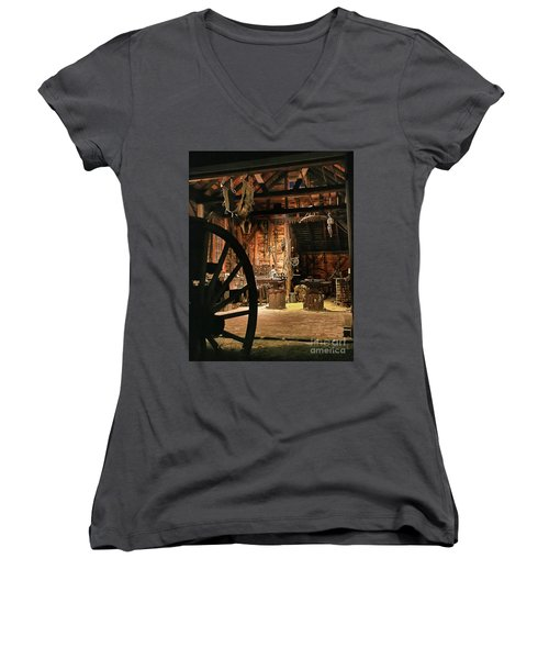 Old Forge Women's V-Neck T-Shirt (Junior Cut) by Tom Cameron