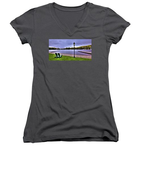 Old Forge Waterfront Women's V-Neck T-Shirt (Junior Cut) by David Patterson