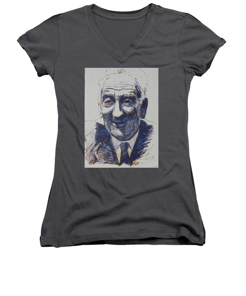 Women's V-Neck T-Shirt (Junior Cut) featuring the drawing Old Fred. by Mike Jeffries