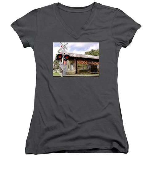 Old Freight Depot Perry Fl. Built In 1910 Women's V-Neck T-Shirt