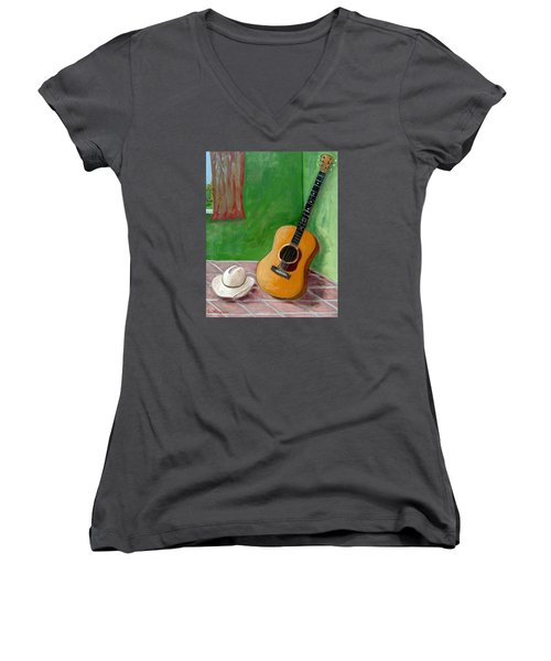 Old Friends Women's V-Neck T-Shirt (Junior Cut) by Laurie Morgan