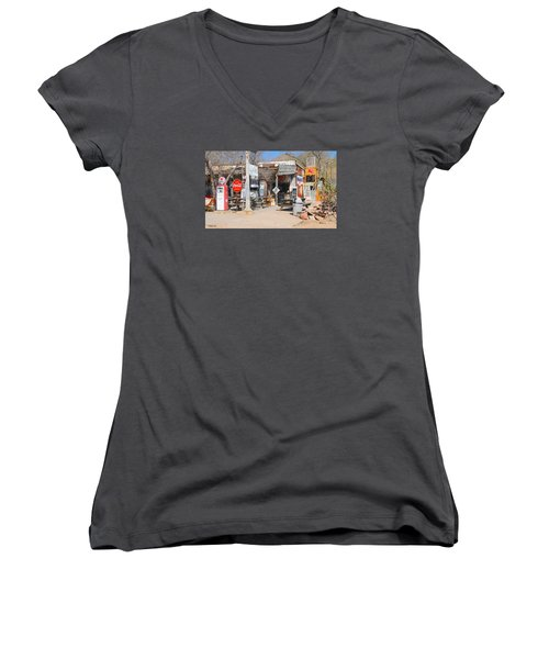 Old Gas Station, Historic Route 66 Women's V-Neck