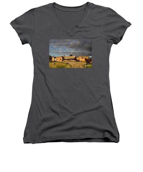 Old Ghan Railway Restaurant Women's V-Neck T-Shirt (Junior Cut) by Douglas Barnard