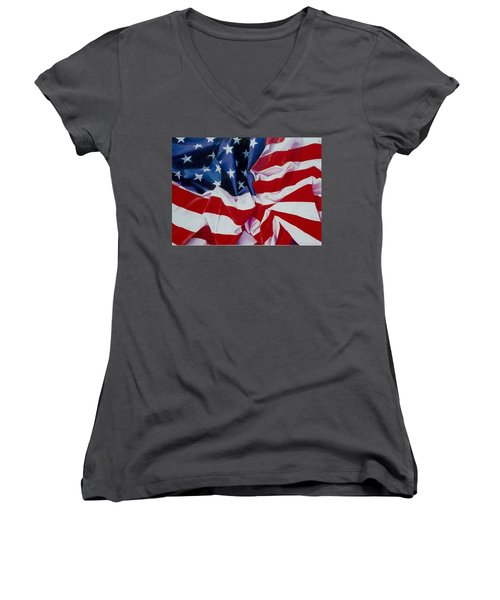 Old Glory  1 Women's V-Neck (Athletic Fit)