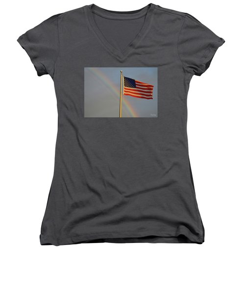 Old Glory And Rainbow Women's V-Neck (Athletic Fit)
