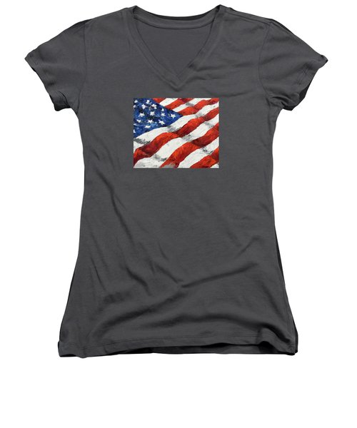 Old Glory II Women's V-Neck (Athletic Fit)