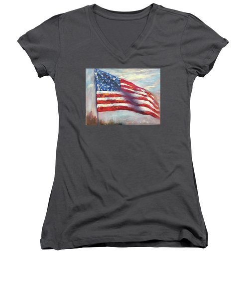 Old Glory Vi Women's V-Neck (Athletic Fit)