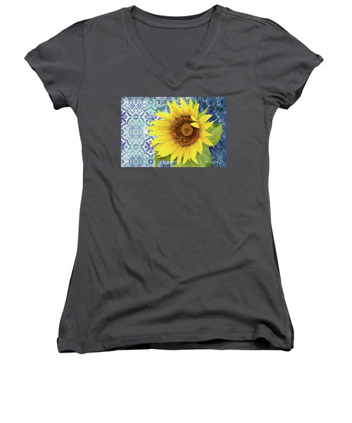Women's V-Neck T-Shirt featuring the painting Old Havana Sunflower - Cobalt Blue Tile Painted Over Wood by Audrey Jeanne Roberts