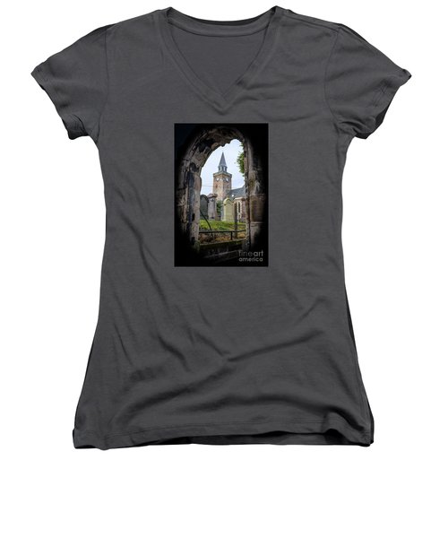 Old High St. Stephen's Church Women's V-Neck T-Shirt (Junior Cut) by Amy Fearn