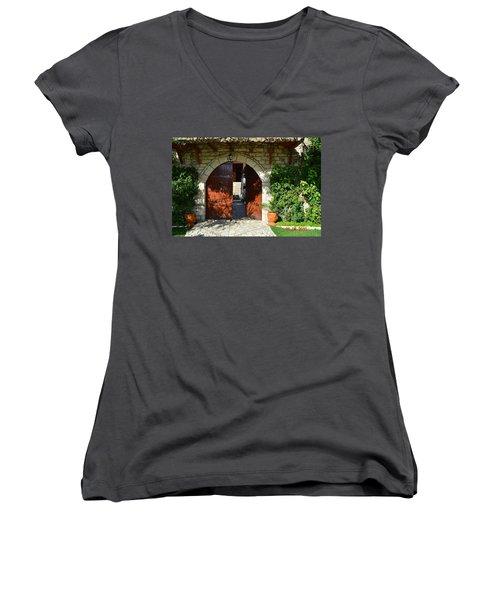 Old House Door Women's V-Neck T-Shirt