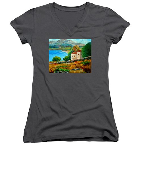 Old House In Mani Women's V-Neck (Athletic Fit)