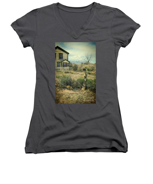 Old House Near Mountians Women's V-Neck T-Shirt (Junior Cut) by Jill Battaglia