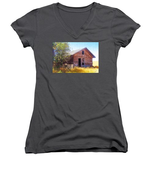Women's V-Neck T-Shirt (Junior Cut) featuring the photograph Old House by Susan Kinney