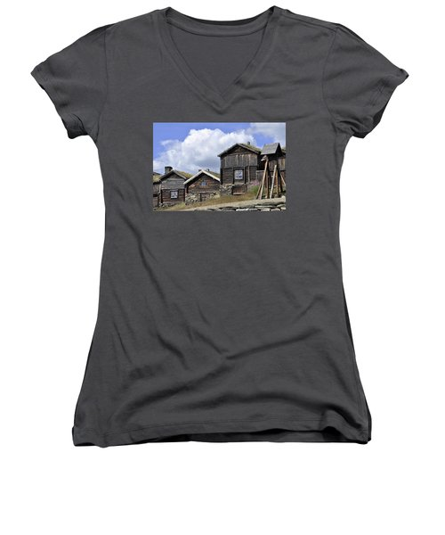 Old Houses In Roeros Women's V-Neck T-Shirt (Junior Cut) by Thomas M Pikolin