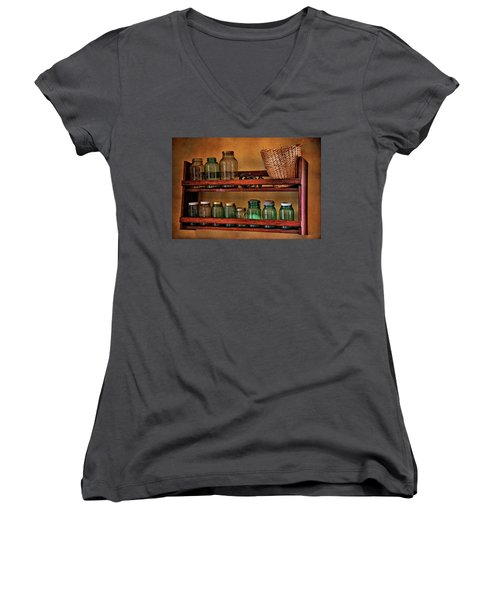 Old Jars Women's V-Neck T-Shirt (Junior Cut) by Lana Trussell