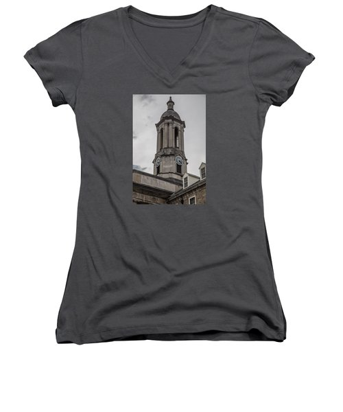 Old Main Penn State Clock  Women's V-Neck T-Shirt (Junior Cut) by John McGraw