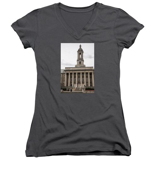 Old Main Penn State From Front  Women's V-Neck T-Shirt