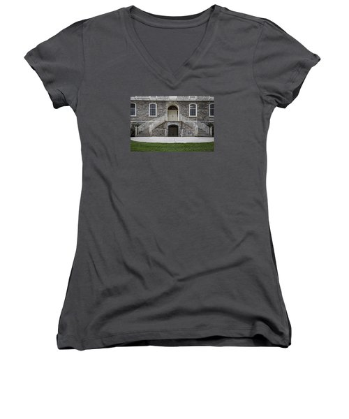 Old Main Penn State Stairs  Women's V-Neck T-Shirt (Junior Cut) by John McGraw