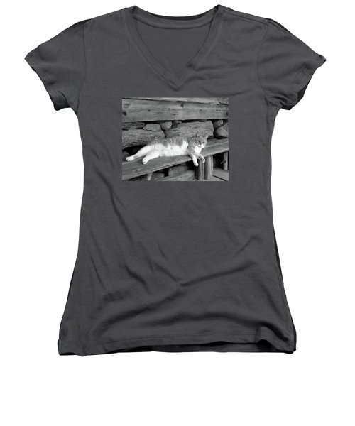 Women's V-Neck T-Shirt (Junior Cut) featuring the photograph Old Mill Cat by Sandi OReilly