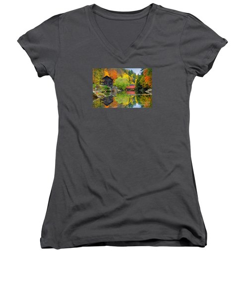 Old Mill In The Fall  Women's V-Neck T-Shirt