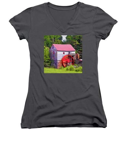 Old Mill Of Guilford Painted Square Women's V-Neck T-Shirt (Junior Cut) by Sandi OReilly