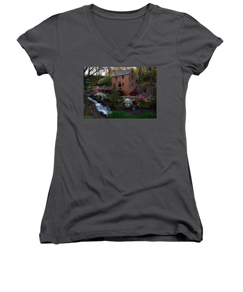 Women's V-Neck T-Shirt (Junior Cut) featuring the photograph Old Mill by Renee Hardison