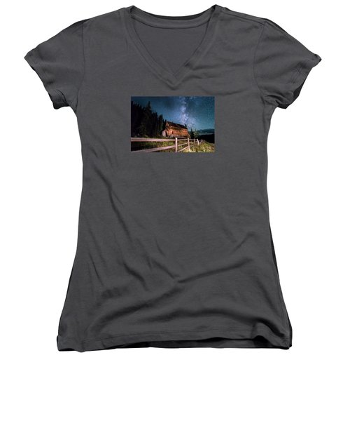 Old Mining Camp Under Milky Way Women's V-Neck T-Shirt