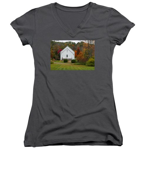 Old New England Church Women's V-Neck (Athletic Fit)