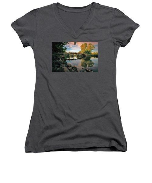 Old North Bridge Women's V-Neck T-Shirt (Junior Cut) by Rick Berk