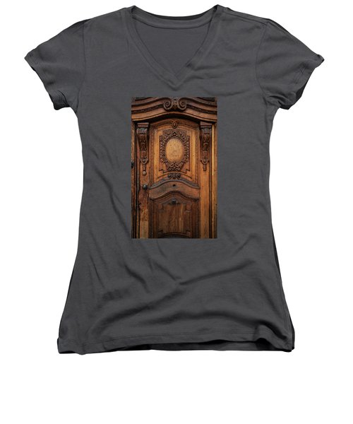 Old Ornamented Wooden Doors Women's V-Neck T-Shirt (Junior Cut) by Jaroslaw Blaminsky