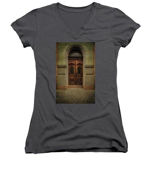 Old Ornamented Wooden Gate In Brown Tones Women's V-Neck T-Shirt (Junior Cut) by Jaroslaw Blaminsky