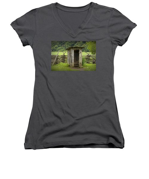 Old Outhouse On A Farm In The Smokey Mountains Women's V-Neck (Athletic Fit)