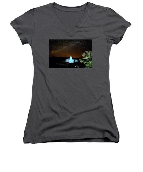 Old Owen Springs Homestead Women's V-Neck T-Shirt (Junior Cut) by Paul Svensen