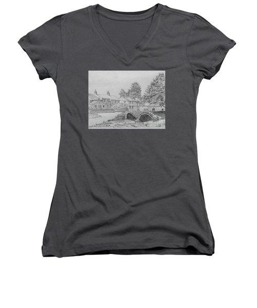 Old Packhorse Bridge Wycoller Women's V-Neck T-Shirt (Junior Cut) by Anthony Lyon